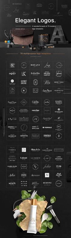 70 Elegant Logo Templates - A wonderful pack of 70 modern and clean logos that can help you to create perfe...