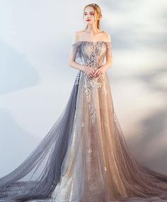 Gray tulle lace long prom dress, gray tulle lace evening dress Gray blue tulle off shoulder long prom dress, gray blue evening dress Grey Evening Dresses, Elegant Dresses, Pretty Dresses, Beautiful Dresses, Beautiful Beautiful, House Beautiful, Lace Evening Gowns, Dead Gorgeous, Ball Dresses