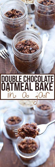 Chocolate for breakfast! This Double Chocolate Baked Oatmeal In A Jar is healthy and perfectly portable. Prep a batch to enjoy all week, and the best part? Minimal dishes!