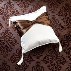 WeddingDepot.com ~ Ring Bearer Pillow - Brown Sash ~