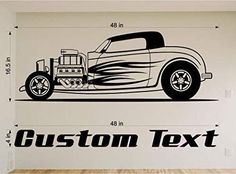 Hot Rod Car Auto Truck Wall Decals Stickers Mural Home Decor Racing Cars Man Cave Man Cave Garage, Car Man Cave, Man Cave Home Bar, Vinyl Wall Stickers, Vinyl Wall Art, Wall Decal Sticker, Room Stickers, Car Decal, Man Cave Wall Decals