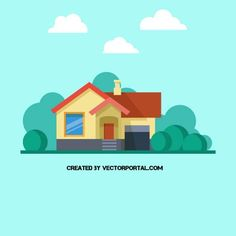 Family home vector illustration. Forest Illustration, House Illustration, Free Vector Images, Vector Free, House Vector, 3d Max, Graphic Design Tutorials, Simple Art, Vector Background