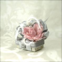Pearl Gray Wedding Favor Gift Jewelry Box by WrapsodyandInk, $7.00