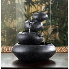 "$39.95 Four granite-finished tiers cycle sparkling water from bowl to bowl, creating an enthralling meditation piece.   With 120v pump.  For indoor use only. UL recognized cord.  Polyresin. 9 1/2"" diameter x..."