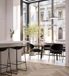 Sophisticated interior design is possible to reach by a black room decor! Create your luxury dining room with our inspirations at Luxury Dining Room, Dining Room Design, Interior Design Kitchen, Modern Interior Design, Interior Architecture, Dining Nook, Dining Tables, Bohemian Interior, Table Bench