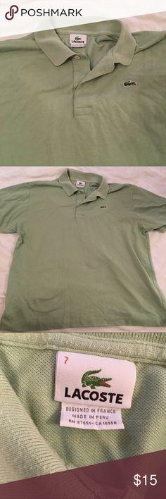 Lacoste shirt light green size 7 men's Lacoste shirt  polo style  Light green  men's size 7  chest is 26 inches across  length is 28 inches Lacoste Shirts Polos