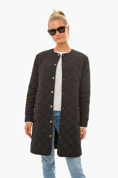 Daily Hunt: October 12, 2021 - Katie Considers Fall Looks, Quilted Jacket, Striped Tee, Hoodies, Denim, My Style, Tees, Coat, Long Sleeve