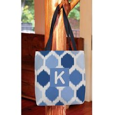 Thumbprintz - Batik Monogram Tote Bag, Women's, Size: 16 inch x 16 inch, Blue