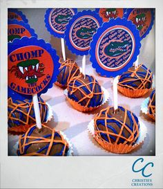 yummmm Gator cake pops. These look delicious and are perfect for Florida Football tailgates!