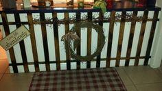 Wood wreath just added gingham ribbon n raffia!