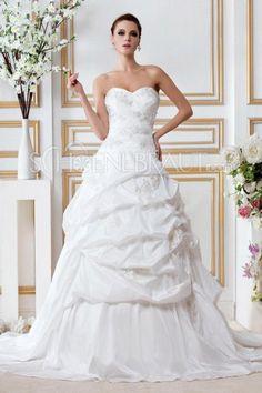 A-Linie Herzförmig Raffungen Applikation Taft Hochzeitskleider [#UD8171]