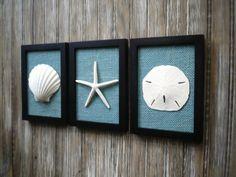 Cottage Chic Set of Beach Wall Art, Art, Sea Shells Home Decor, Beach House Wall Decor, Bathroom Dec Nautical Bathroom Decor, Coastal Wall Decor, Bathroom Wall Art, Coastal Art, Wall Art Decor, Bathroom Ideas, Beach House Bathroom, Nautical Theme, Cottage Chic