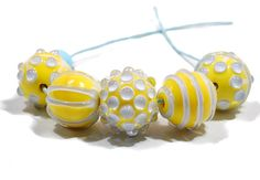 CLO Beads - Big Bright Rounds in Yellow and Aqua Blue - Handmade Artisan Glass Lampwork SRA by CareyOHalloran on Etsy