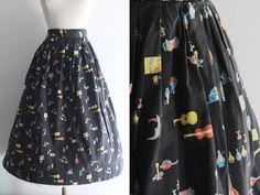 1950s Novelty Print Skirt / Vintage 50s Italian Novelty Print Cotton Circle Skirt by SavvySpinsterVintage