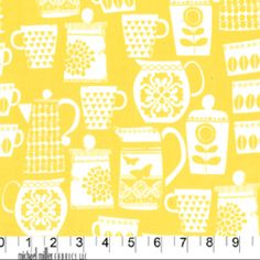 Michael Miller House Designer - Retro Kitchen - Put A Lid On It in Yellow - would make cute kitchen curtains or seat cushions!