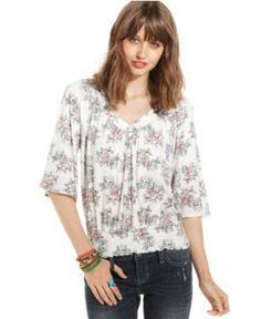 American Rag Juniors Top, Short Sleeve Floral-Print Blouson - Juniors American Rag - Macy's