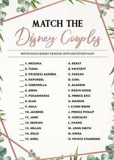 Match the Disney Couples, Disney Bridal Shower Game, Printable, Instant Download, Wedding Shower, Printable Game Cards, Greenery, Rose Gold