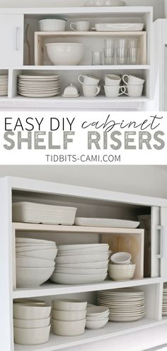 This incredibly simple DIY project will help you maximize cabinet and cupboard storage and organization. Gain vertical space and avoid the stacking mess with these easy DIY Cabinet Shelf Risers. Kitchen Cabinet Shelves, Diy Cupboards, Diy Kitchen Storage, Cupboard Storage, Diy Storage, Storage Shelves, Kitchen Organization, Organizing, Pantry Cabinets