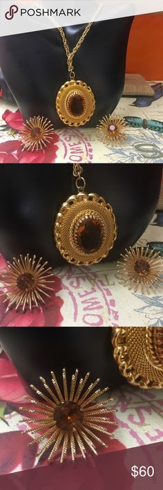 Sarah Coventry Vintage Gold Plated Amber set Vintage gold plated amber necklace and clip on earrings set. In excellent condition. Would make a stunning gift! 22 inch chain. 1 1/2 inch Medallion. 1 1/8 clip on earrings.  BONUS MATCHING BROOCHES INCLUDED Sarah Coventry Jewelry Necklaces