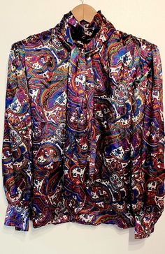07dc427187f Anne Klein Vintage High Neck Liquid Satin Paisley Print Secretary Blouse  size 12  AnneKlein  Blouse  Career  secretary  costume  Halloween2018