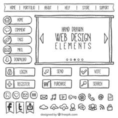 Doodles web element collection Free Vector