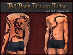 "Full Body Tattoo Mesh ""Dragon"" | akisima sims blog"