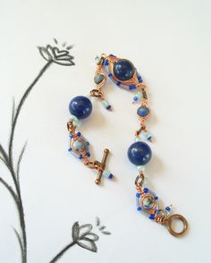 Lapis Lazuli and Sodalite Copper Wire by InspirationParadise