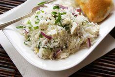 Lemony Rice & Spinach Salad with Feta - Dinner With Julie Spinach And Feta, Spinach Salad, Rice Grain, Rice Salad, Latin Food, Grains, Salads, Yummy Food, Chicken