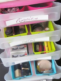 Cute organizers from the Dollar Tree. Here they were used to organize makeup.