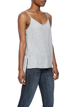 Slinky rib-knit tank top with a hi-low hem and adjustable straps.   Hi-Low Tank by Jack by BB Dakota. Clothing - Tops - Sleeveless Clothing - Tops - Tees & Tanks California