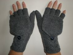 Handknitted grey color  women convertible fingerless gloves to mittens with buttons. $38.00, via Etsy.