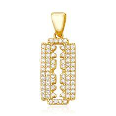 Razor Blade Charm | Moda Operandi ($88) ❤ liked on Polyvore featuring jewelry, pendants, druzy jewelry, druzy charms, drusy jewelry, charm pendants and charm jewelry