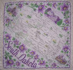 South Dakota state map + purple pasque flowers [handkerchief / scarf]
