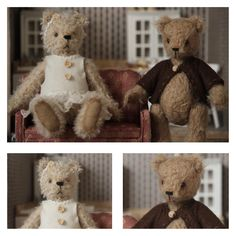 Marina Dorogush teddy bears. Picture taken at their new home in my teddy bear room.