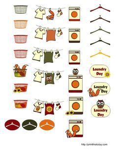 free prinatble fall themed laundry day stickers for planner #happyplanner #freeprintable #planning: