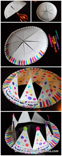 Paper plate crown craft (minus the bible references)