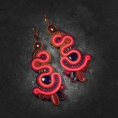 Soutache Earrings, Brooch, Brooches