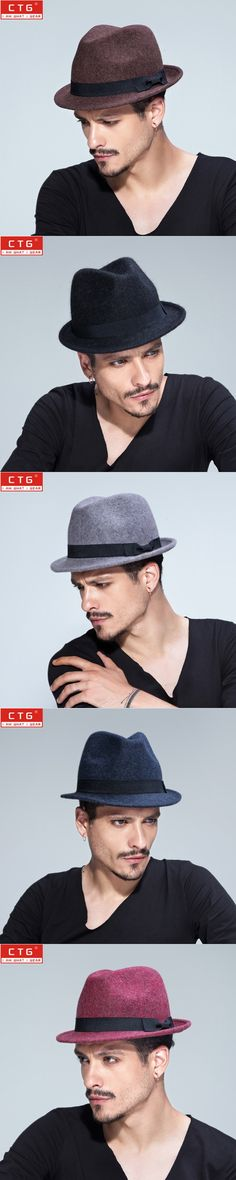 Fashion Vintage Trilby Hats For Men Women Wool Fedoras Jazz Hat Wide Brim with Black Ribbon Panama Caps Fedoras Wolle B-1507