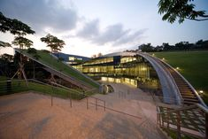 The green roof of The Nanyang Technological School of Art, Design, and Media in Singapore by CPG Consultants