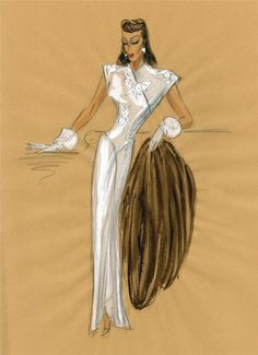 This original costume sketch is a design by Edith Head, and there is no signature. Neither a film title nor  a star is identified. The provenance of the sketch and the fact that this sketch was acquired with similar but signed Edith Head sketches makes me certain this is an Edith Head design.