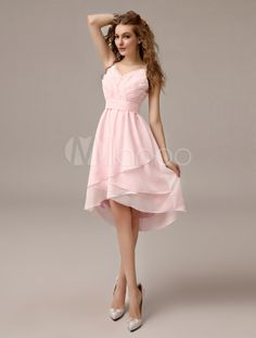 Robe demoiselle d'honneur en chiffon rose avec plissement - Milanoo.com