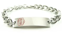 Alzheimers-ID-awareness-bracelets -  #Bracelet Details - Stainless Steel THICK Figaro Chain (Non-Allergenic), Custom Sized, Lobster Claw Clasp, 2.6mm (gauge), Free Medical ID Card Included for #Price: $45.99 (€40.01)