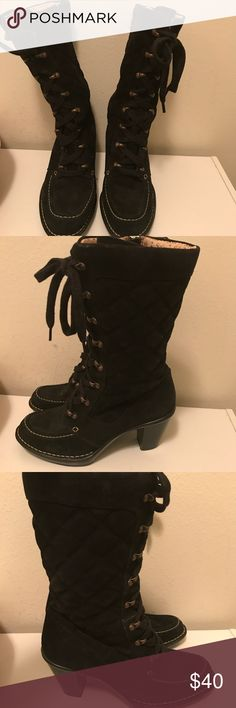 Sofft women's calf high string up boots Sofft brand women's string up with side zipper boots. Size 7. Great condition Sofft Shoes Heeled Boots