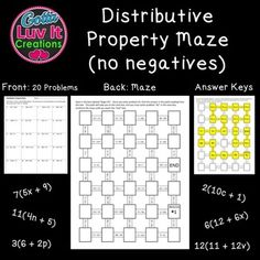 Distributive Property Maze, No Negatives.  No prep - just print.  20 problems with answer key included.