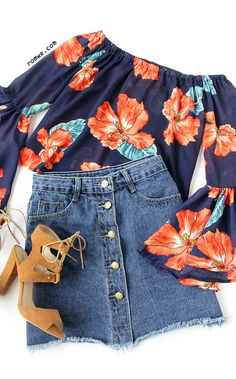 Fantastic Blouse - Navy Flower Print Ruffled Sleeve Off The Shoulder Top from romwe.com