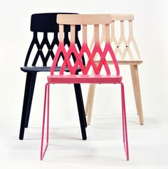 Y5 Chair by Sami Kallio, in ash and stackable metal versions, incorporates five upside down Ys to arrive at its name (2013)