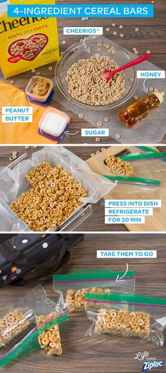 These homemade cereal bars have just 4 ingredients, and make breakfast snacks for the entire week! Melt peanut butter, honey, and granulated sugar together, then stir in Cheerios™ to make these simple, homemade cereal bars. They're so much more affordable than the kind you get at the store. Tip: separate bars into Ziploc® bags for easy grab and go snacks.