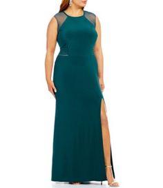 Morgan & Co. Plus Illusion Banded Waist Long Sheath ITY Dress #Dillards
