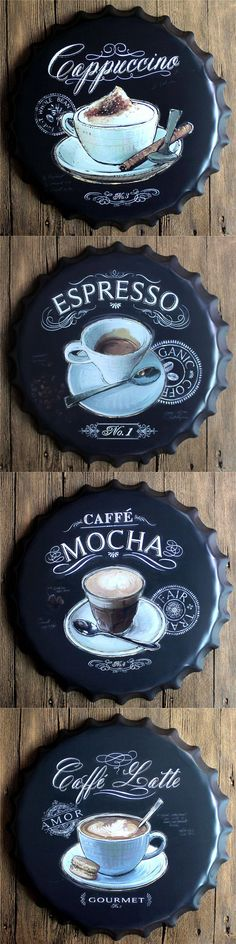 Espresso Caffe Latte Beer Bottle Cap Metal Coffee Wall Plaques Retro Art Poster Metal Vintage Tin Signs Painting Home Decor 40CM $28.9