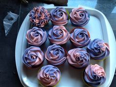 Chocolate cupcakes with cotton candy buttercream.